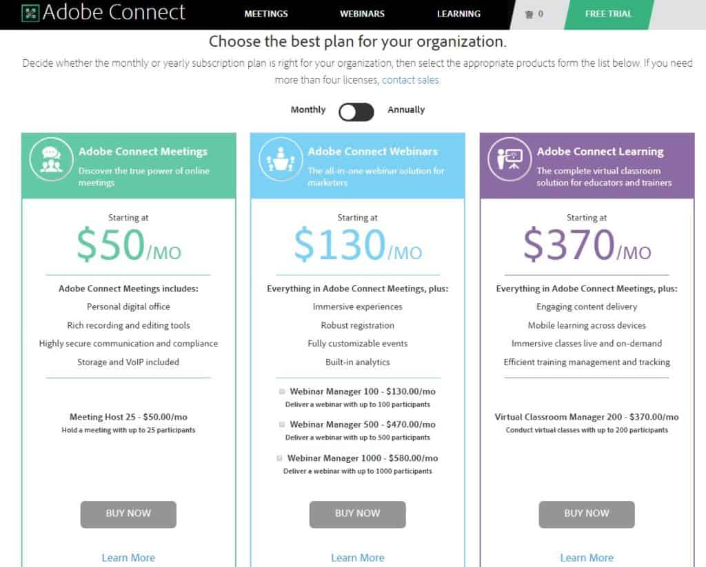 AdobeConnect Pricing